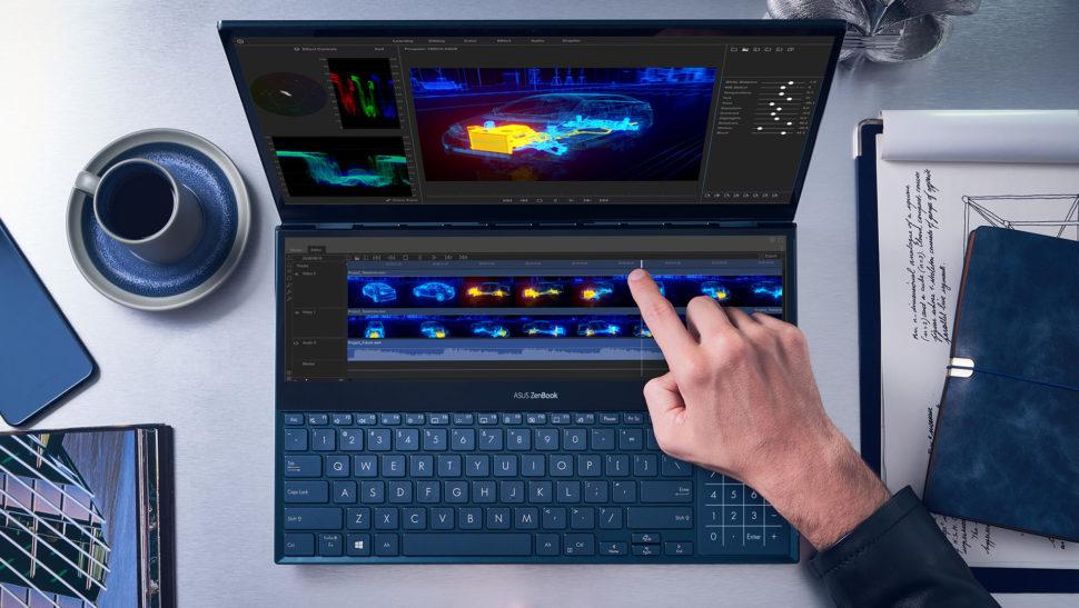 Laptop ZenBook Pro Duo, da Asus, visto de cima