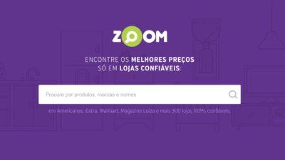 Página inicial do comparador de preços Zoom