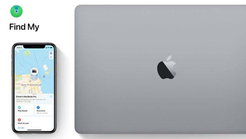 iPhone mostra aplicativo 'Buscar' ao lado de um MacBook