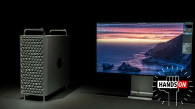 Apple Mac Pro ao lado do monitor Pro Display XDR