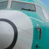 Detalhe do bico de um avião Boeing 737 Max