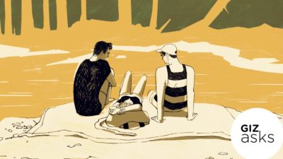 Ilustração mostra três pessoas na praia