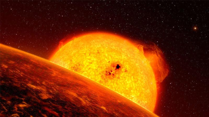 Ilustração de um exoplaneta próximo à sua estrela
