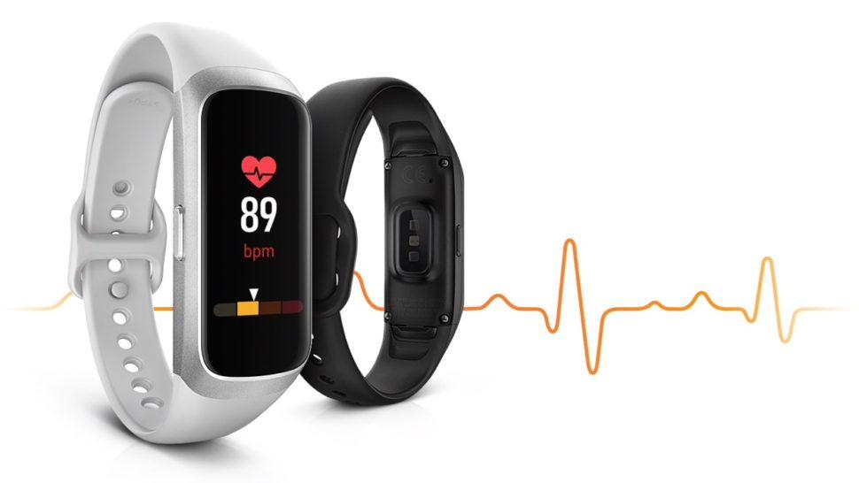 Pulseira Galaxy Fit mostrando medição de batimento cardíaco