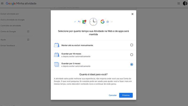 Google libera opções para deletar automaticamente históricos de localização, da web e de apps
