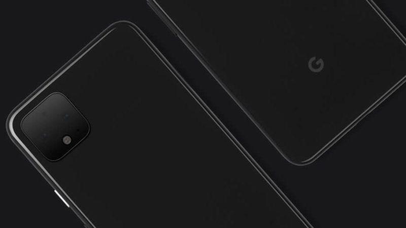 Foto do Pixel 4. Imagem revela um aparelho preto retangular com um pequeno quadrado no canto superior esquerdo da traseira. Nesse quadrado cabe mais de uma câmera.