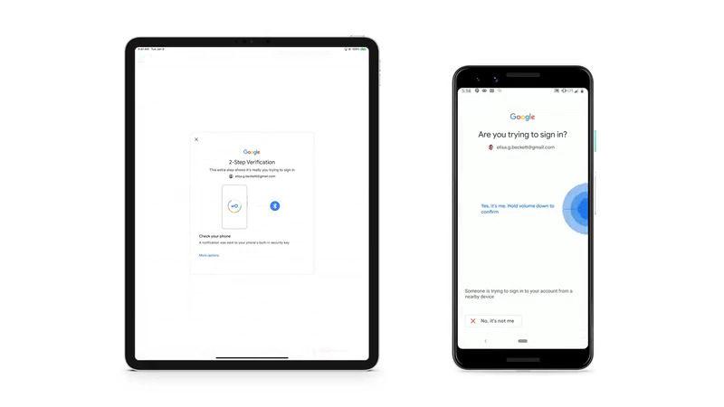 Esquema mostra iPad e smartphone Android lado a lado fazendo o processo de login.