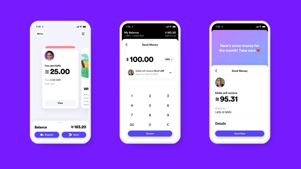Capturas de tela do app da Libra, a moeda digital do Facebook