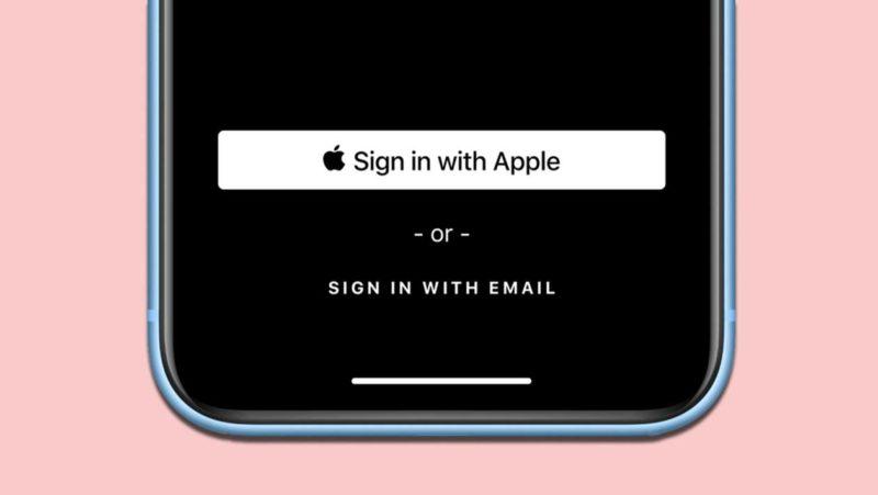Ilustração mostra iPhone e botão 'Login com a Apple'