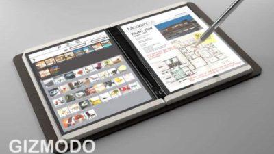 Conceito do Microsoft Courier, um tablet de duas telas