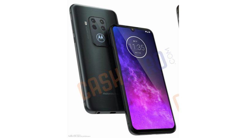Imagem renderizada frente e verso do Motorola One Pro
