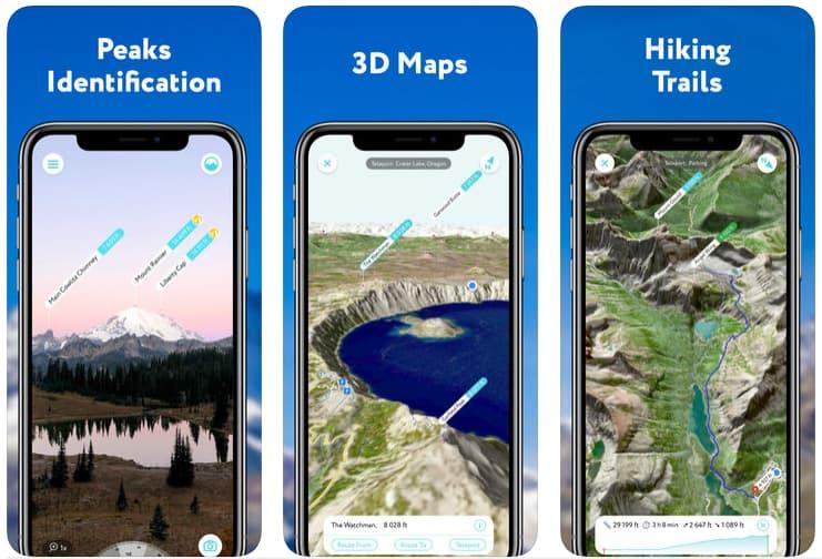 Telas do aplicativo PeakVisor para iOS