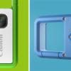 Na esquerda, a IVY REC verde. É um retângulo metálico com uma lente, a marca da Canon e uma borda verde-limão. Na direita, a traseira de uma IVY REC azul. Há um botão giratório para escolher os modos.