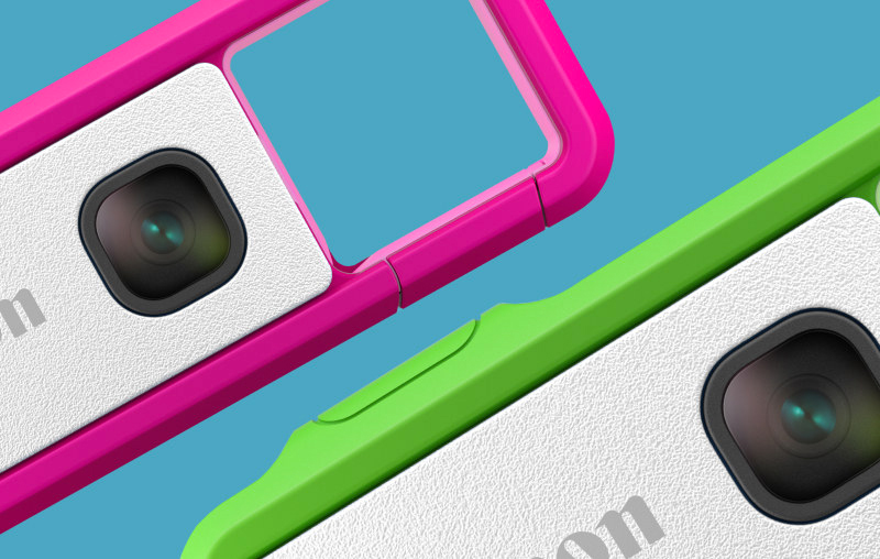 Câmeras IVY REC rosa e verde.