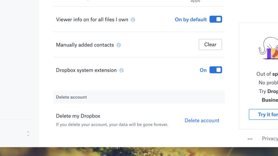 Tela para deletar conta no Dropbox