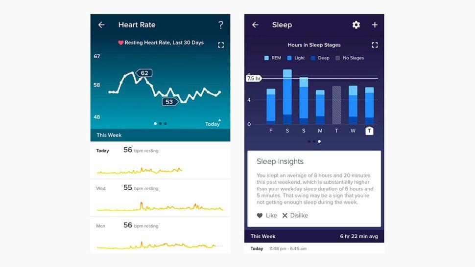 Captura de tela do app Fitibt que mostra progresso de atividade física e de sono
