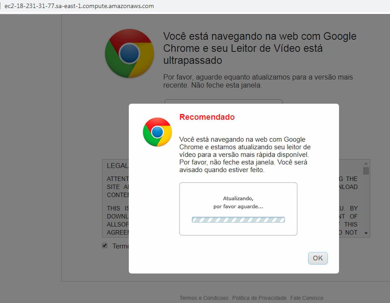Página pede para usuário instalar atualização falsa do Chrome