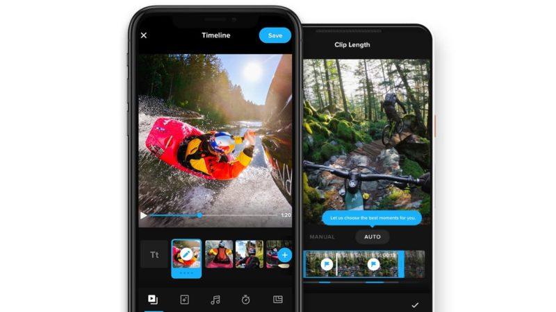 Captura de tela do novo app da GoPro, que tem novas funcionalidades de edição