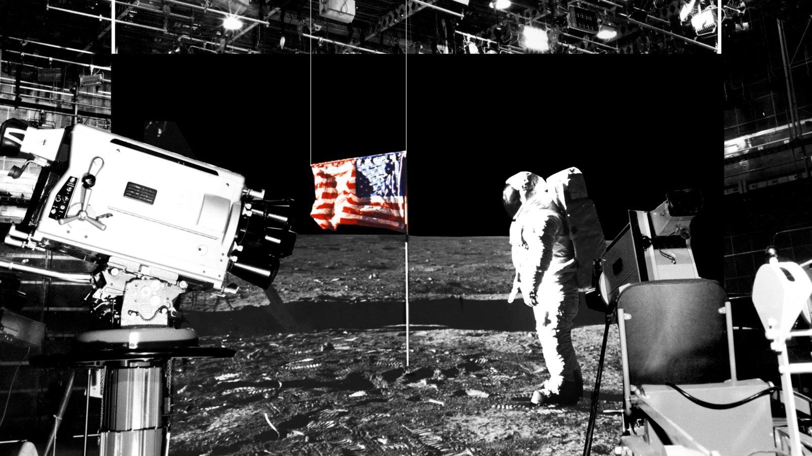 Ilustração mostra câmeras filmando o homem na Lua