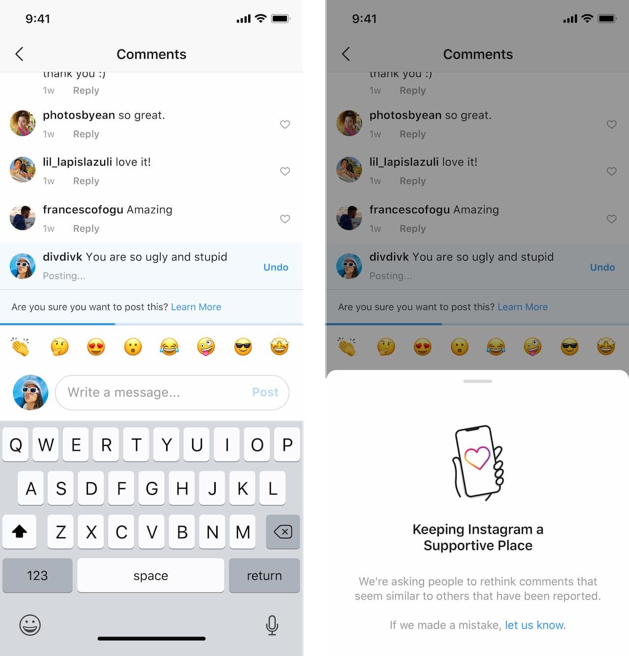 Telas mostram ferramenta do Instagram que desencoraja pessoa de fazer comentário ofensivo.