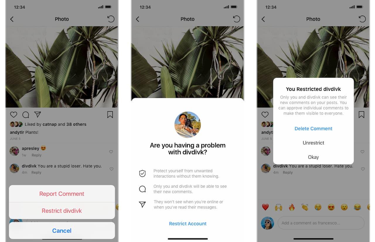 Telas mostra opção do Instagram para restringir outro usuário