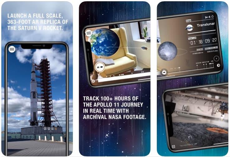 Telas do aplicativo JFK Moonshot para iOS