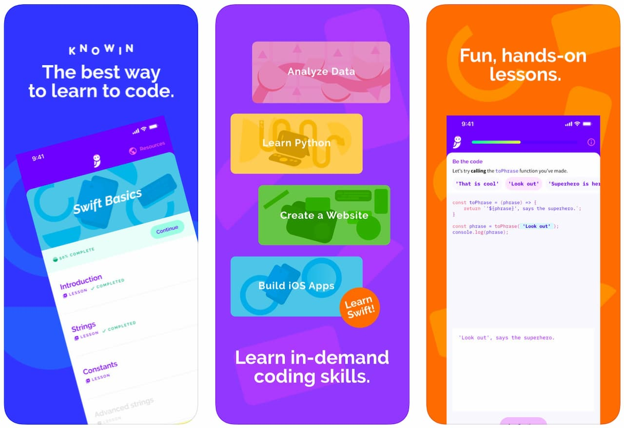 Telas do aplicativo Knowin para iOS