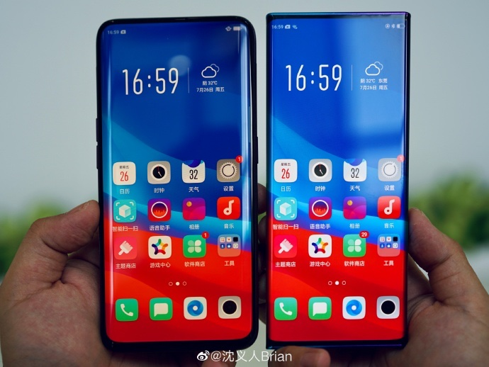 Comparativo entre o Oppo Find X e o Oppo Waterfall Screen (dir.)