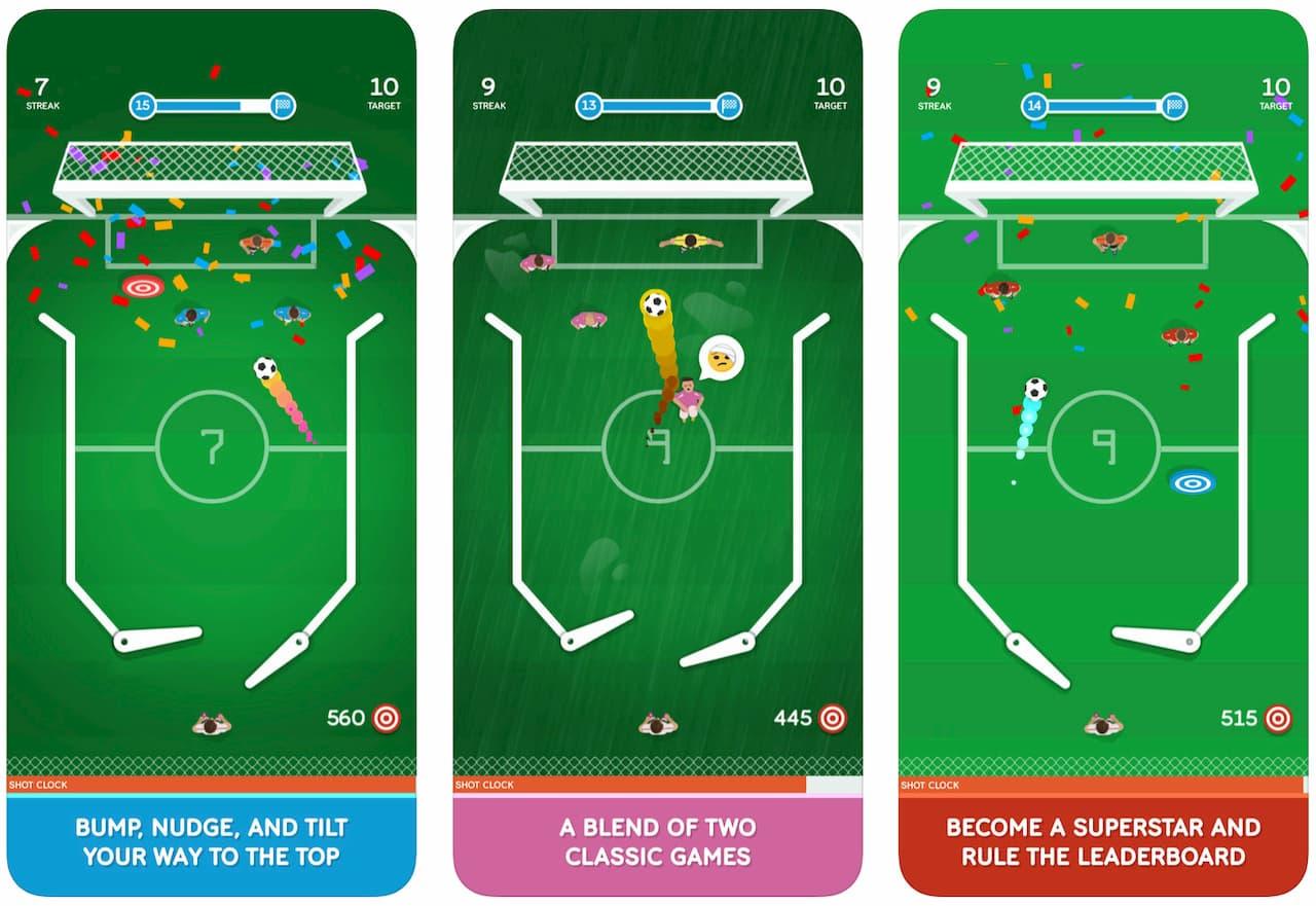 Telas do aplicativo Pinball Soccer Pro para iOS