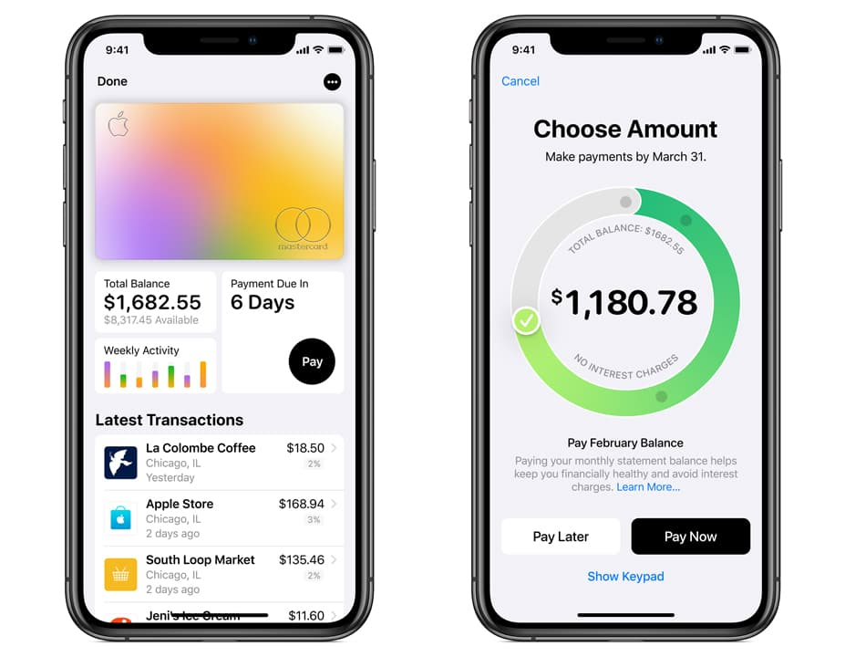 Telas do aplicativo Apple Wallet mostrando fatura do Apple Card