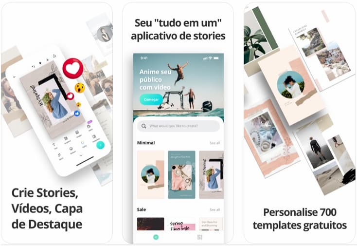 Telas do aplicativo Crie Stories & Vídeos no Canva para iOS