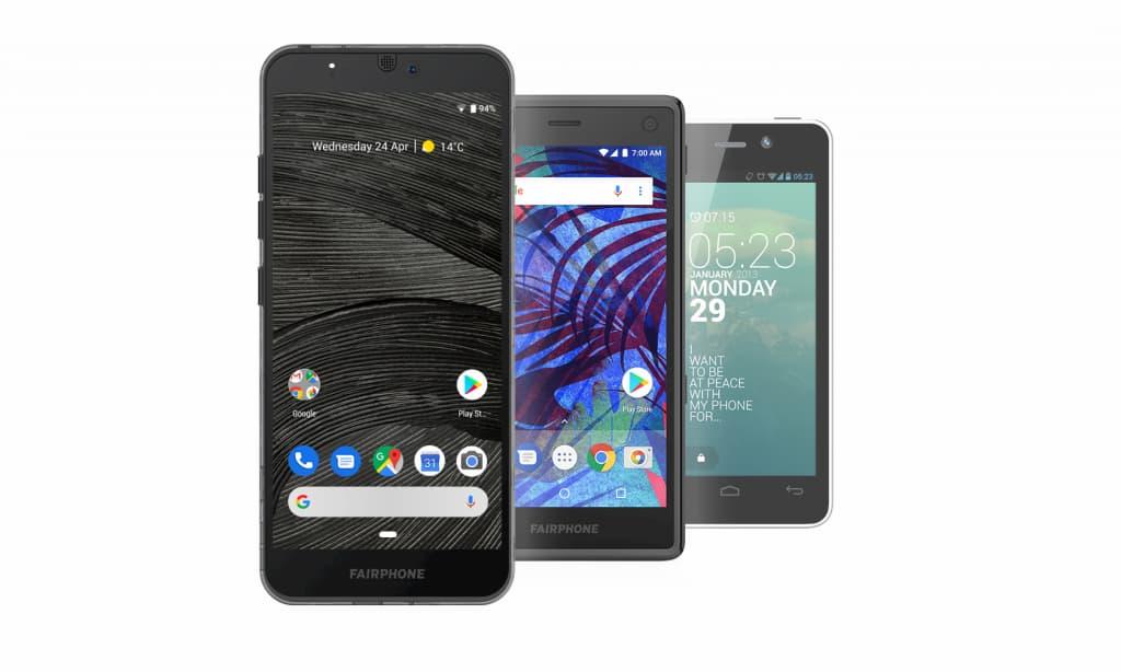 Três gerações do Fairphone