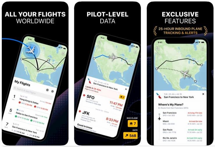 Telas do app Flighty para iOS