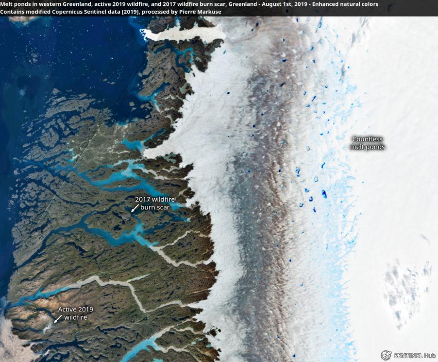 Imagem de satélite da Groenlândia mostram incêndios e derretimento de neve