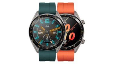 Huawei Watch GT com pulseiras verde e laranja