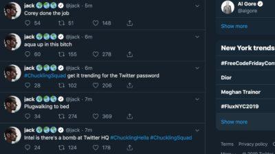 Tuítes enviados por hackers na conta de Jack Dorsey, CEO do Twitter