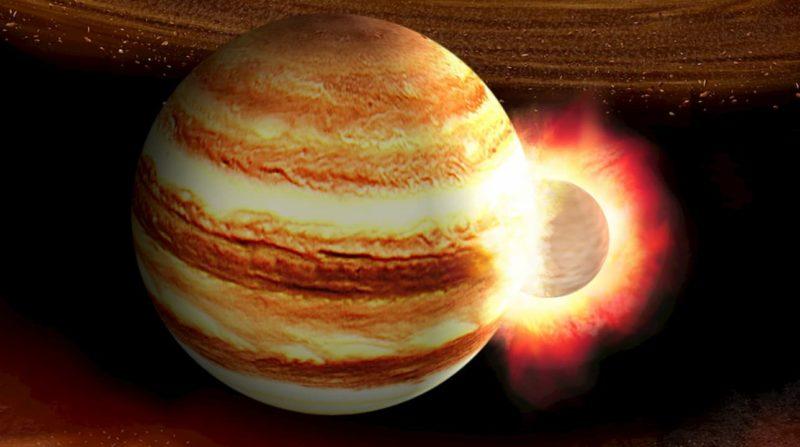 Concepção artística da colisão de um pequeno planeta com Júpiter