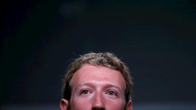 Foto de Mark Zuckerberg, CEO do Facebook. O enquadramento mostra seu rosto apenas do nariz para cima.