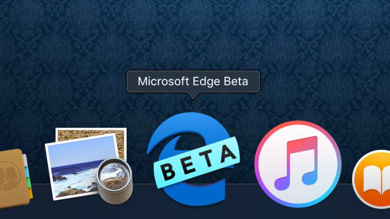 """Imagem do ícone do Microsoft Edge (um e minúsculo azul) com uma faixa escrito """"beta"""" por cima. O ícone está na dock do macOS."""