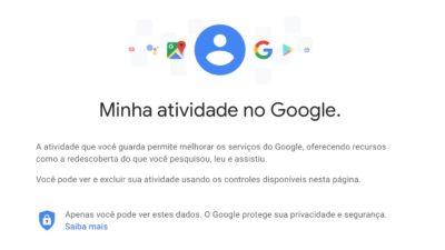 Minha atividade no Google