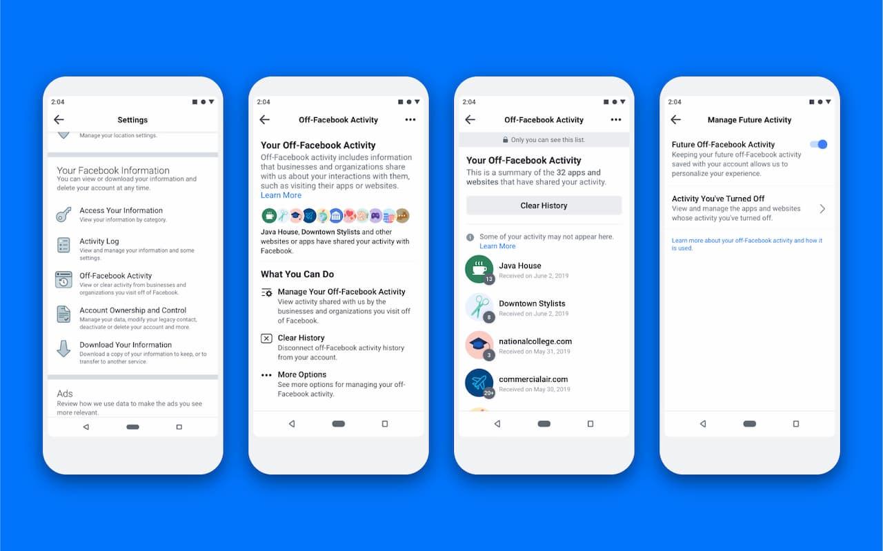 Telas da nova ferramenta de controle de dados do Facebook