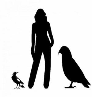Figura do Heracles inexpectatus ao lado da figura de uma mulher e de outro pássaro