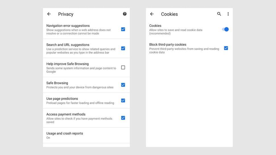 Configurações de privacidade do Chrome para Android