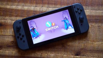 Nintendo Switch na tela de inicialização.