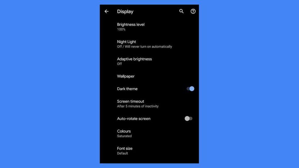 Ativação do modo noturno no Android 10
