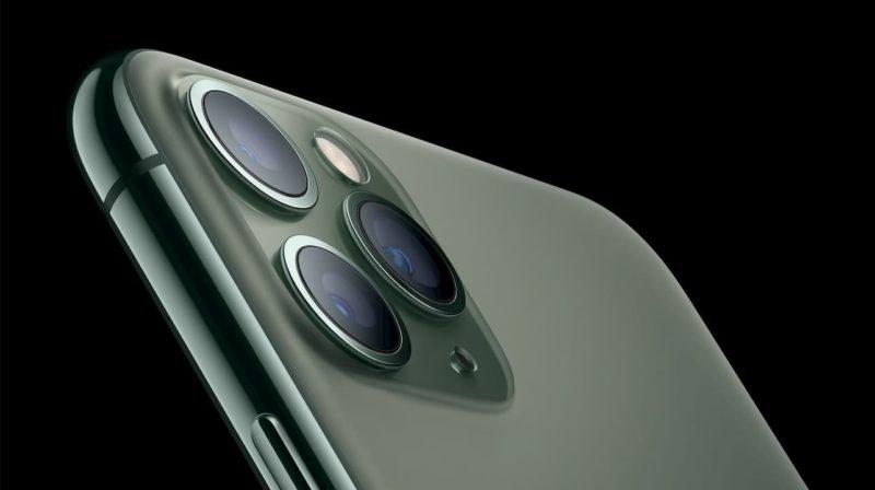 Detalhe das três câmeras do iPhone 11 Pro