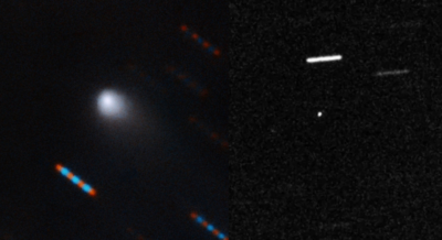 Imagem dividida ao meio mostra um círculo branco enevoado, o cometa Borisov, à esquerda e um objeto comprido também branco, o objeto interestelar 'Oumuamua, à direita.