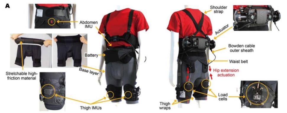 Detalhes do exoesqueleto que ajuda a caminhar e correr