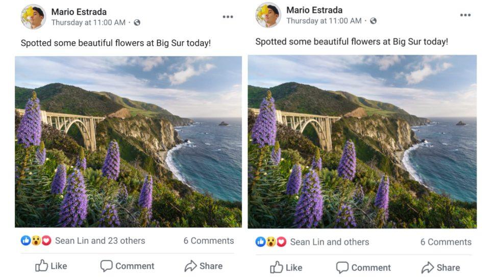 Comparativo de post do Facebook com e sem curtidas