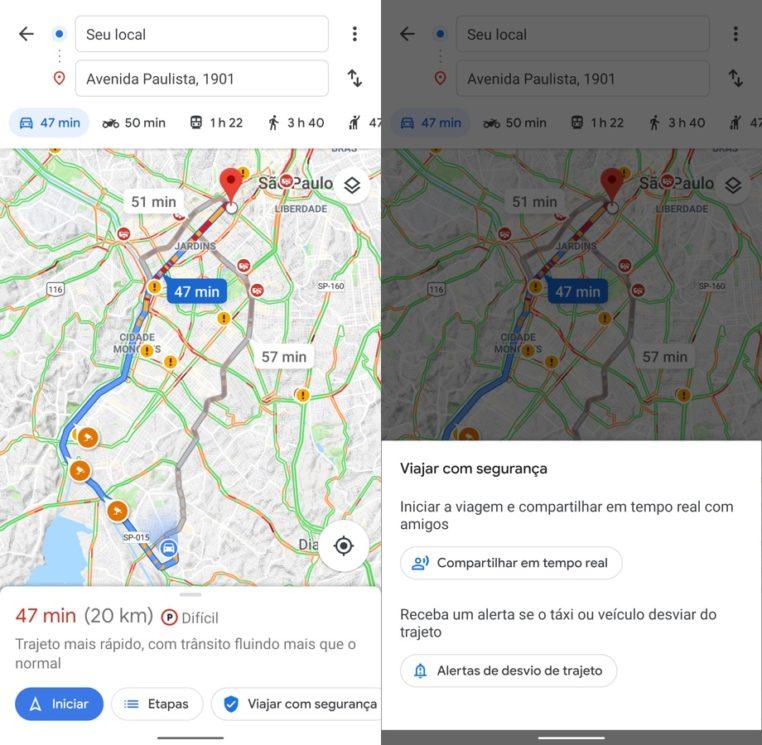 Novo recurso de segurança do Google Maps
